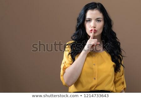 Fiatal nő készít kézmozdulat meztelen vállak ujj Stock fotó © dash