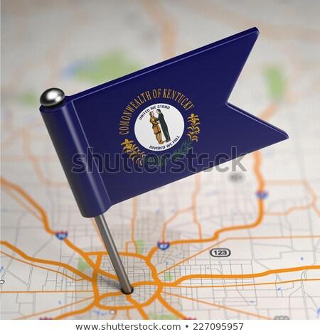 Kentucky küçük bayrak harita seçici odak arka plan Stok fotoğraf © tashatuvango