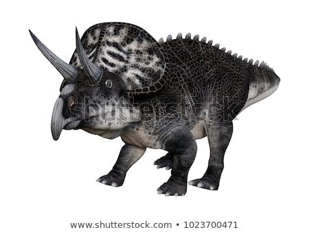 dinossauro · 3d · render · caminhada · grama · dia · céu - foto stock © mariephoto