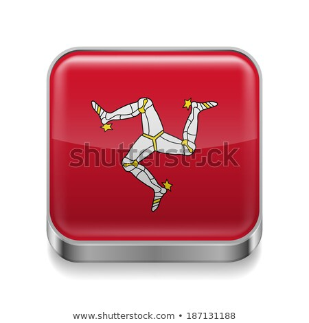 Square metal button with flag of isle of man Stock photo © MikhailMishchenko