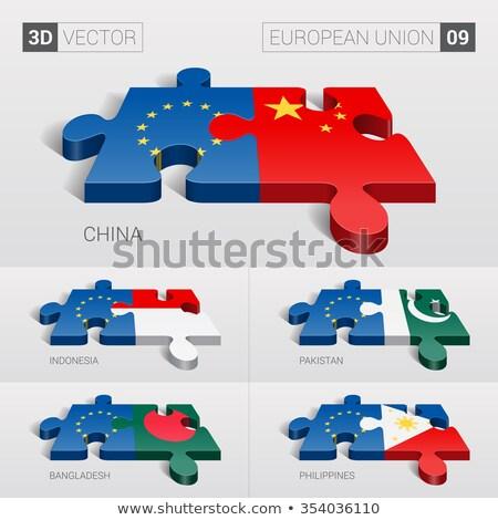 Európai szövetség Banglades zászlók puzzle vektor Stock fotó © Istanbul2009