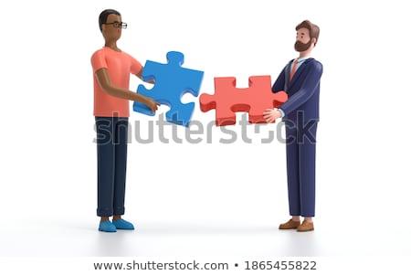 3D trois hommes équipe puzzle blanche Photo stock © nithin_abraham