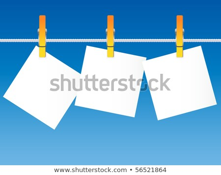 Blank Note Paper Pegged on Clothes Line against Blue Sky Stock photo © frannyanne