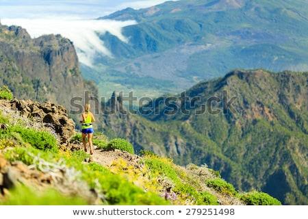boldog · nő · nyom · fut · gyönyörű · hegyek - stock fotó © blasbike