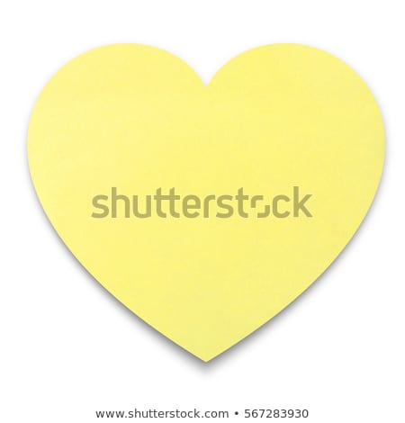 Empty yellow heart shape post it Stock photo © fuzzbones0