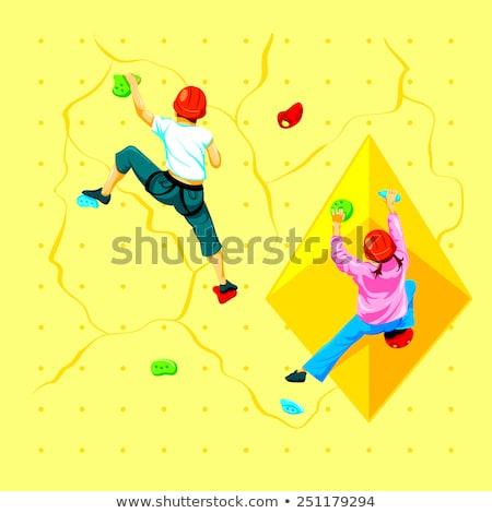 Hegymászás illusztráció mosoly fal sport vicces Stock fotó © adrenalina