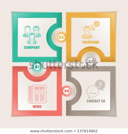 Corporate News on Green Puzzle. Stock photo © tashatuvango