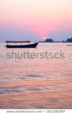日没 桟橋 人 徒歩 釣り 空 ストックフォト © Vividrange