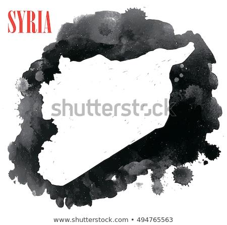 Kaart Syrië aquarel illustratie oorlog schilderij Stockfoto © amok