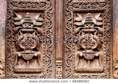 tapınak · mimari · detay · Nepal · ahşap · pencere - stok fotoğraf © dutourdumonde