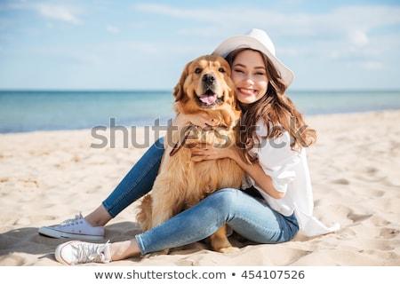 Stock fotó: Girl With Dog At Sunset