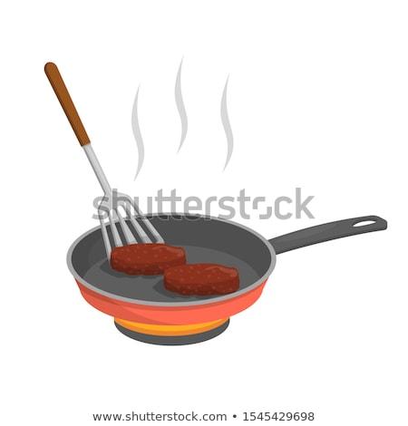 serpenyő · sült · hús · paradicsomok · serpenyő · fekete - stock fotó © Digifoodstock