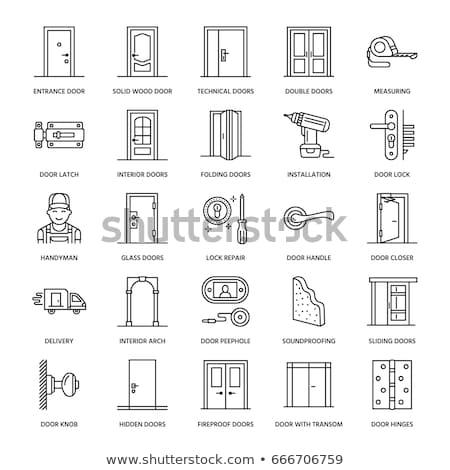 front door line icon stock photo © rastudio