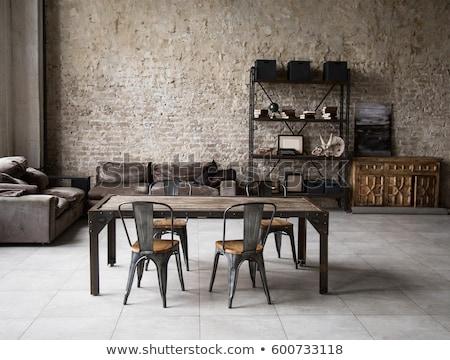 belső · padlás · stílus · kilátás · ki · étterem - stock fotó © bezikus