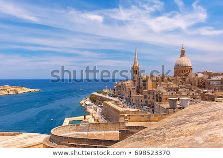 the city walls of valletta with old castle stock photo © meinzahn