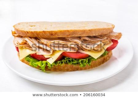 sanduíche · branco · prato · Turquia · peito · tomates - foto stock © paulovilela