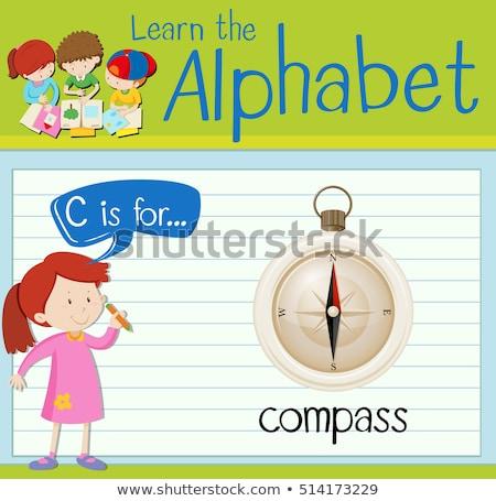 C betű iránytű illusztráció gyerekek gyermek háttér Stock fotó © bluering