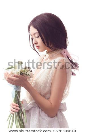 花嫁 · 花束 · 白いドレス · 触れる · リング - ストックフォト © artfotodima