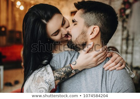 Portrait Happy Smiling Couple in love, beautiful couple embraces stock photo © Yatsenko