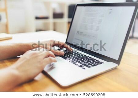 Blogging laptop schermo primo piano atterraggio pagina Foto d'archivio © tashatuvango