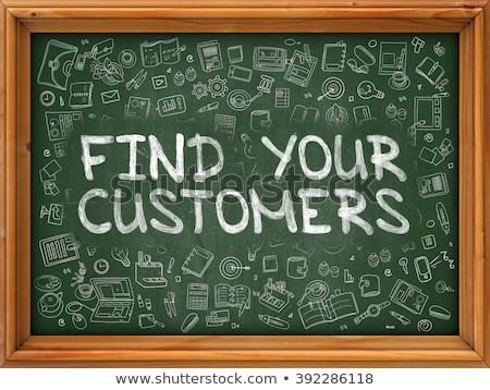 Foto stock: Objetivo · clientes · dibujado · a · mano · verde · pizarra · garabato