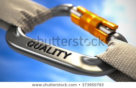 chrome carabiner hook with text quality stock photo © tashatuvango