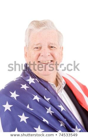 патриотический старший человека американский флаг изолированный Сток-фото © Qingwa