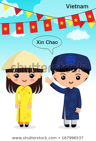 Vietnamese boy and girl in traditional costume Stock photo © bluering