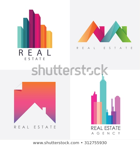real estate logo and icons vector   purple and green stock photo © lordalea