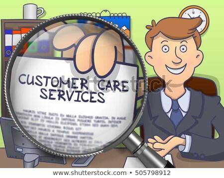 Customer Care Services through Magnifier. Doodle Style. Stock photo © tashatuvango