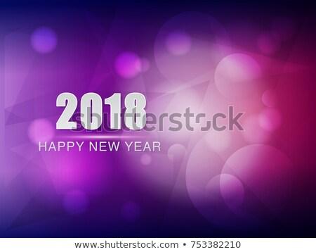 Happy New Year 2018 Violet Purple Greeting Card Stockfoto © marinini