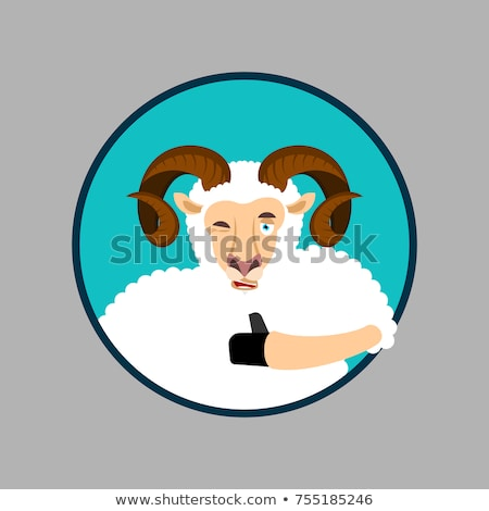 Ram thumbs up and winks emoji. Sheep Farm Animal happy emoji. Ve Stock photo © popaukropa