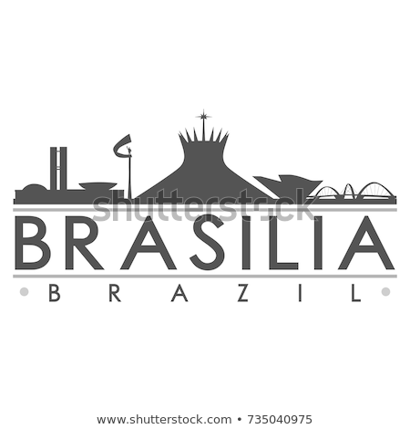 Brasil bandeira silhueta ícone festa futebol Foto stock © doomko