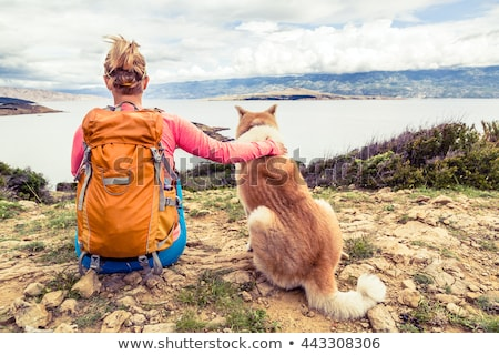 uśmiechnięty · piękna · młoda · kobieta · patrząc · psa · spaceru - zdjęcia stock © blasbike