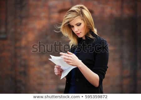olvas · levelezés · portré · őszinte · idős · pár · levél - stock fotó © is2