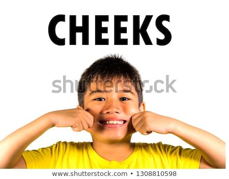 Asiático criança indicação bochechas feliz sorridente Foto stock © szefei