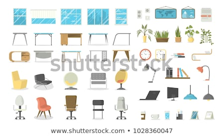 chair set vector office creative modern desk chairs interior seat design element flat isolated fu stock photo © pikepicture