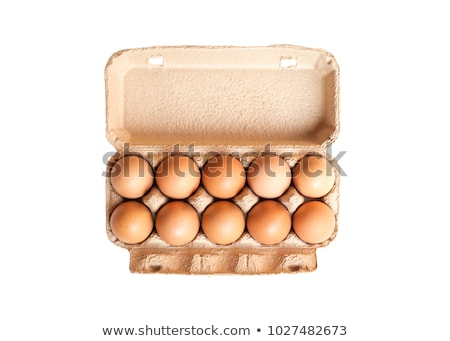 eggs packaging isolated egg in paper box on white background stock photo © popaukropa