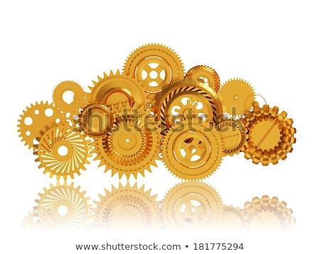 Cloud Technology Concept. Golden Gears. 3D Illustration. Stock photo © tashatuvango