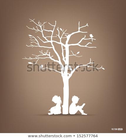 Könyv gyerekek erdő könyvtár illusztráció csoport Stock fotó © lenm
