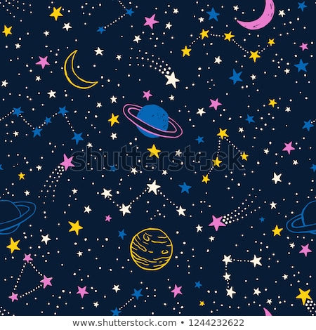 Doodles planet cosmic seamless vector pattern. Stock photo © yopixart