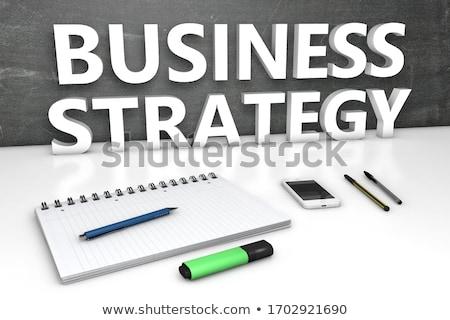 üzleti stratégia szöveg kicsi tábla 3D kézzel írott Stock fotó © tashatuvango