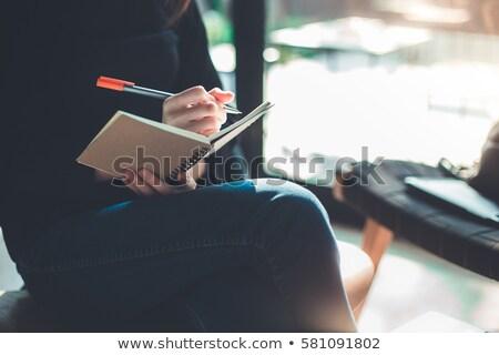 buzgó · üzletasszony · ír · napló · iroda · nők - stock fotó © andreypopov