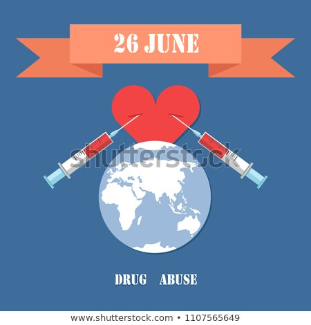 Drug Abuse Poster with Two Syringe in Heart Vector Stock photo © robuart