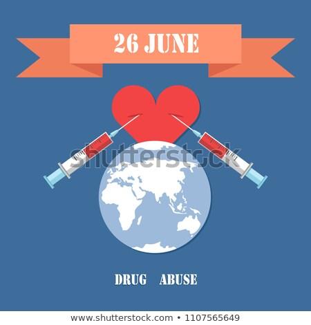 Droga abuso poster due siringa cuore Foto d'archivio © robuart