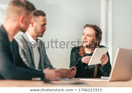 Business people that work together in office to a new project with post-it. Concept of teamwork, par Stock photo © alphaspirit