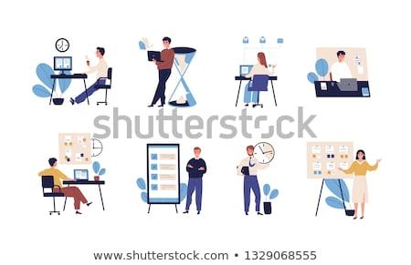 conjunto · empresário · sessão · secretária · trabalhador · de · escritório · eps10 - foto stock © robuart