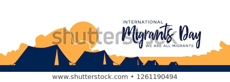 Migrants Day banner of refugee tent camp Stock photo © cienpies