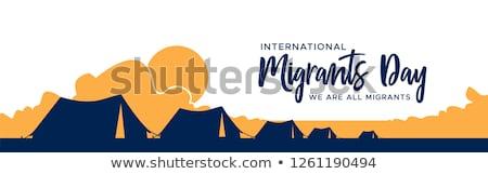Jour bannière réfugiés tente camp internationaux Photo stock © cienpies