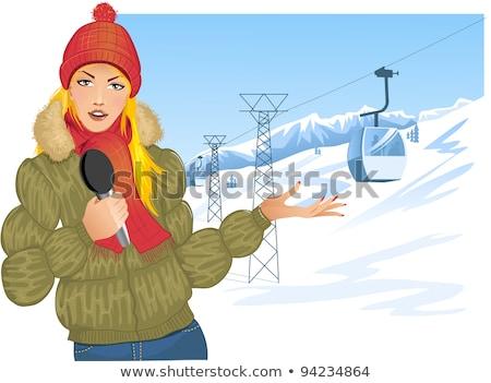 News reporter winter scene Stock photo © colematt